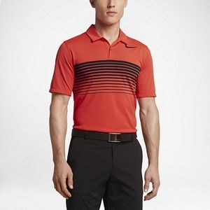 Nike Golf Mens Dri Fit Polo Shirt Black Orange